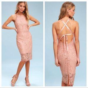 Lulu's Wishful Wanderings Bodycon Lace Mini Dress